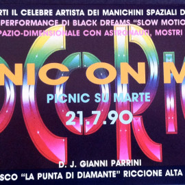 Cocoricò 1990, flyer Picnic on Mars retro © Davide Nicolò